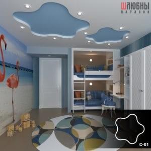Красивый двухуровневый потолок в детской